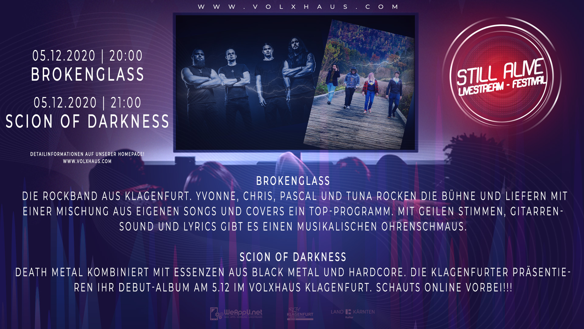 Still Alive Livestream Festival mit Broken Glass & Scion of Darkness