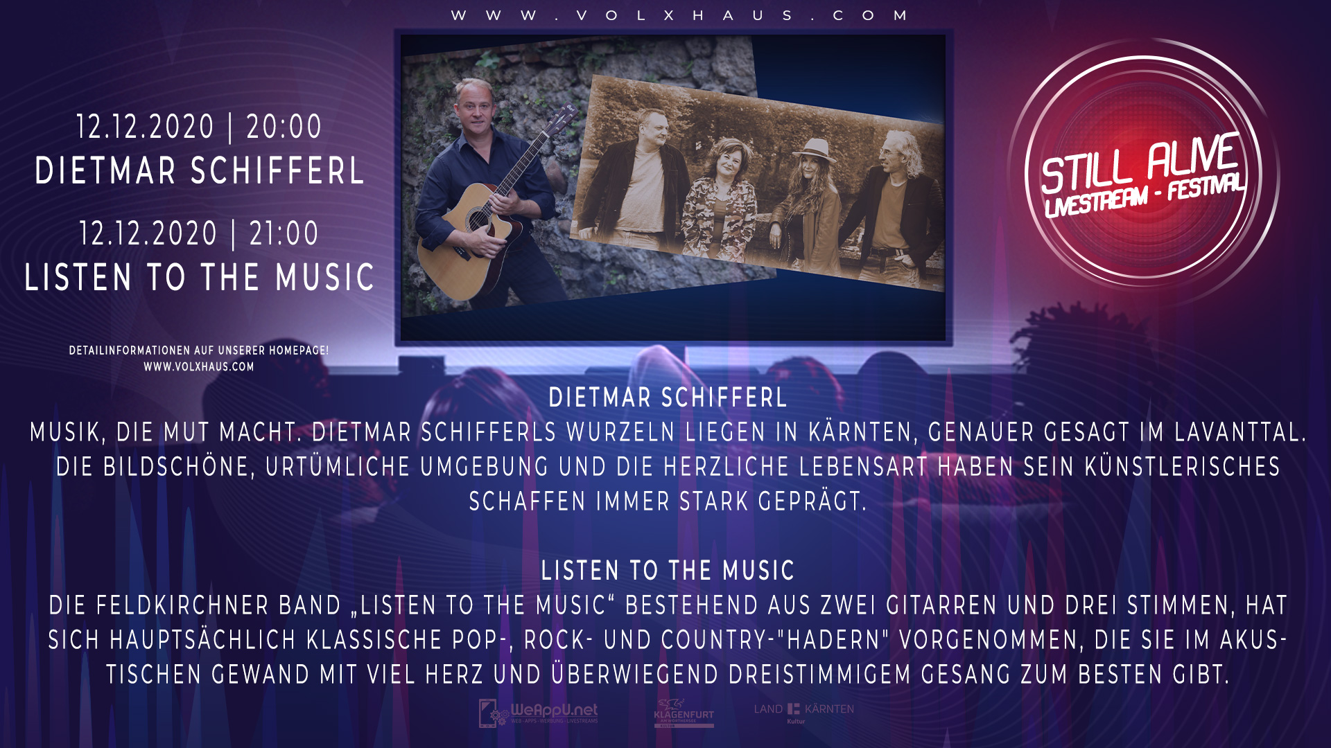 Still Alive Livestream Festival mit Dietmar Schifferl & Listen to the Music
